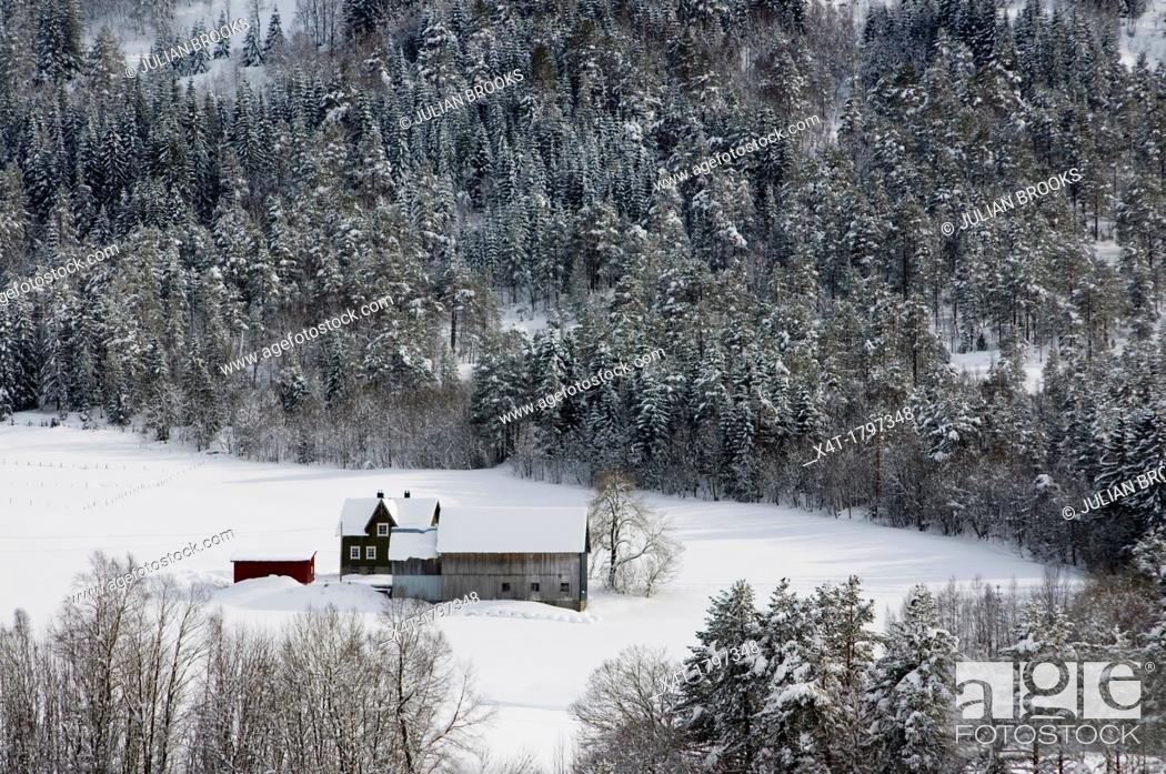 Stock Photo: a mountain farm in the snow, Norway.