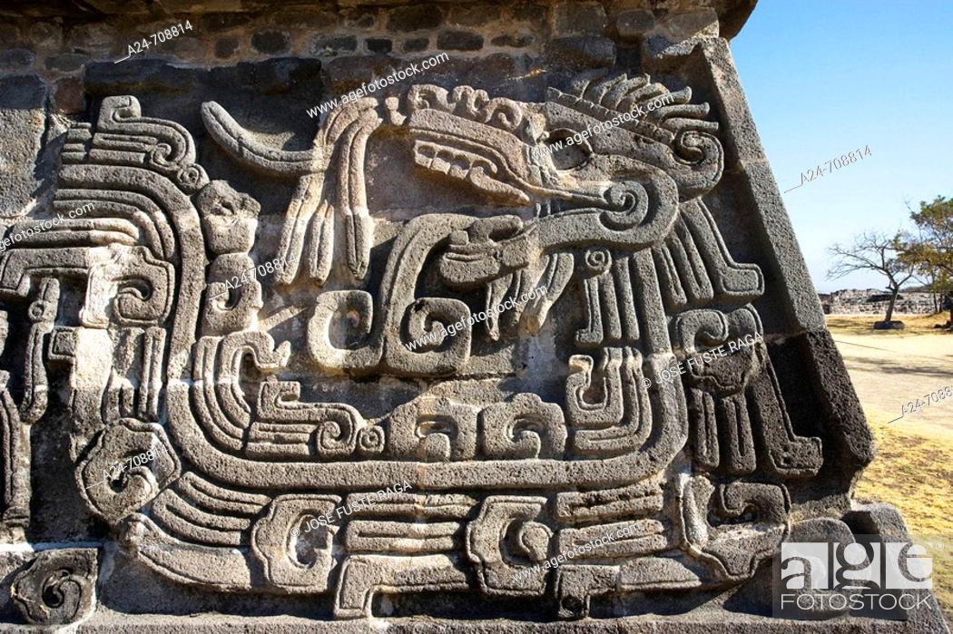 Stock Photo: Near Cuernavaca City. Ceremonial Center of Xochicalco. Quetzalcoatl Piramid. Mexico.