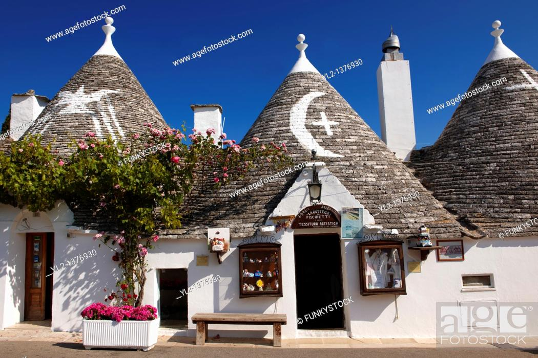Stock Photo: Stone Trulo house with beehive shaped conical roof, traditional Turlli houses of Alberobello, Apulia, Italy.