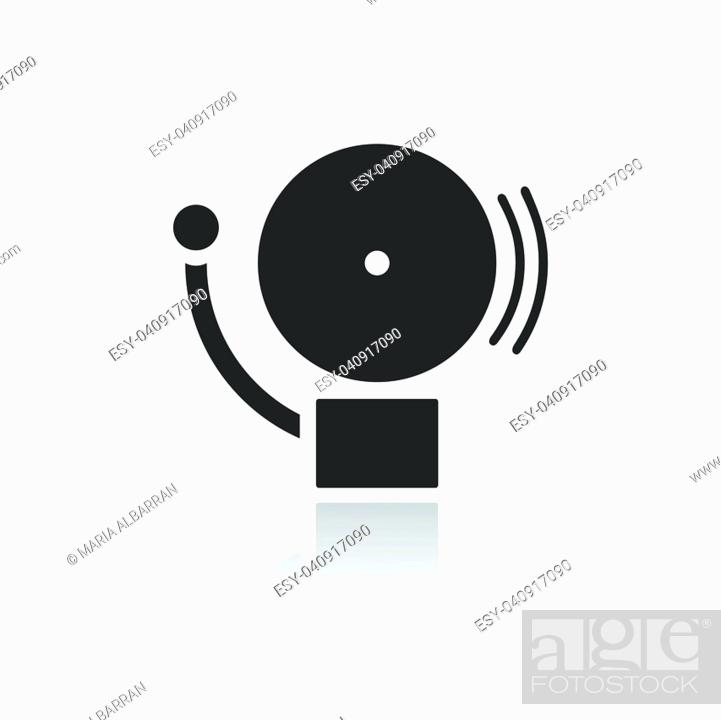 Vector: Alarm icon on a white background with reflection. Vector illustration.