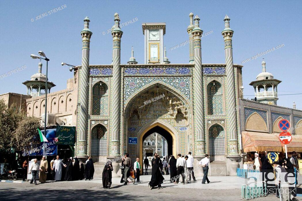 Stock Photo: Iran, Qom, Shrine of Fatemeh Masoumeh, Mar`ashi Nadjafi Street.