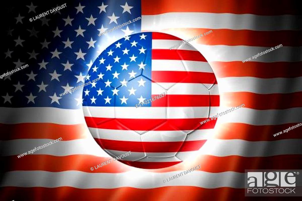 Imagen: Soccer football ball with USA flag.