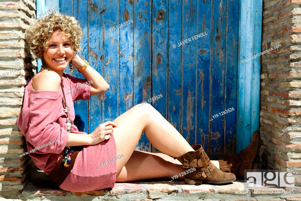 Stock Photo: Portrait of pretty Caucasian woman posing.
