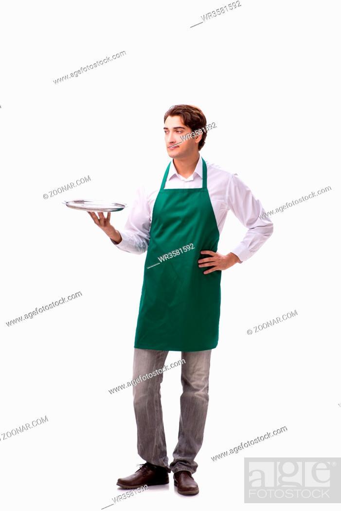 Stock Photo: Young waiter isolated on white background.