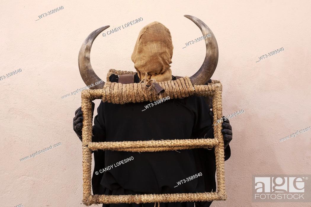 Stock Photo: The Carnival bull, ROMANONES, . GUADALAJARA province, La Alcarria, . Castilla-La Mancha, SPAIN, EUROPE.