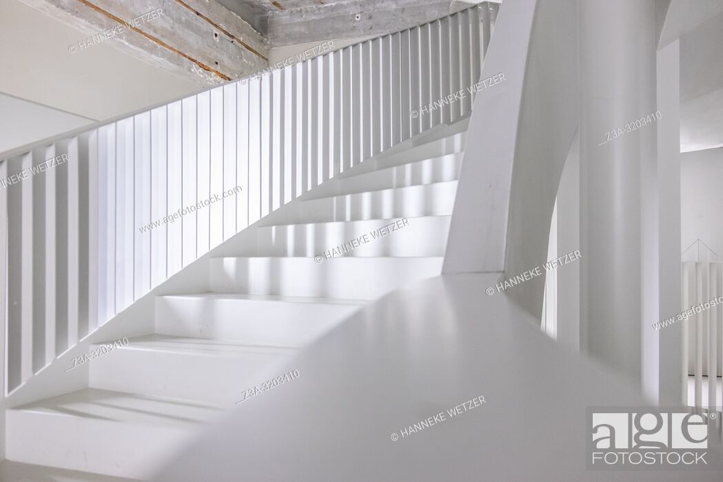 Stock Photo: Modern stairs of former Philips factory building Anton at Strijp-S in Eindhoven, the Netherlands.