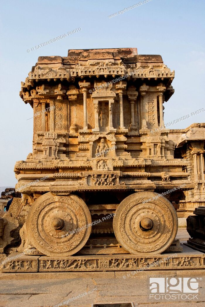 Stock Photo: Stone Chariot Vittala Temple in Hampi at Karnataka India Asia.