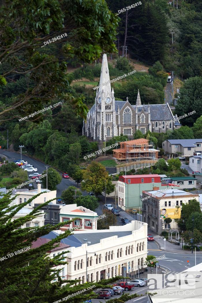 Stock Photo: New Zealand, South Island, Otago, Port Chalmers, elevated town view.
