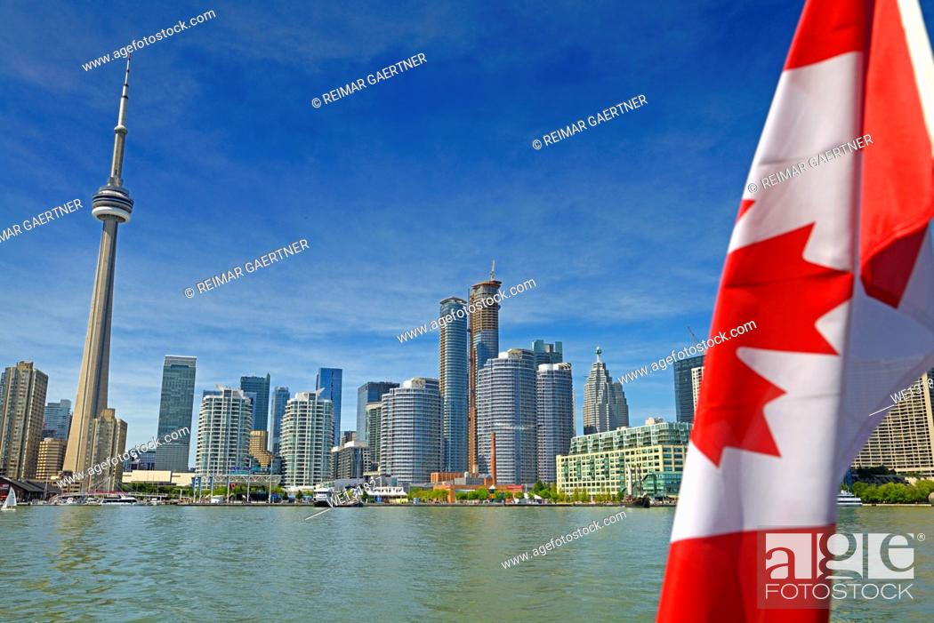Stock Photo: Toronto skyline with CN Tower and harbourfront on Lake Ontario.