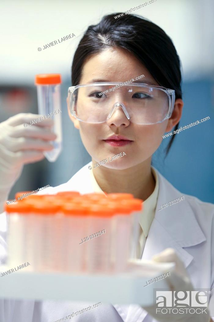 Stock Photo: Researcher. Biological test laboratory. Chemical Analysis Laboratory. Technological Services to Industry. Tecnalia Research & Innovation, Donostia.