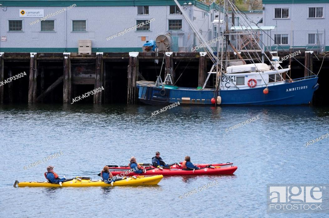 Stock Photo: Kayakers in Inner Harbour, Victoria, British Columbia, Canada.
