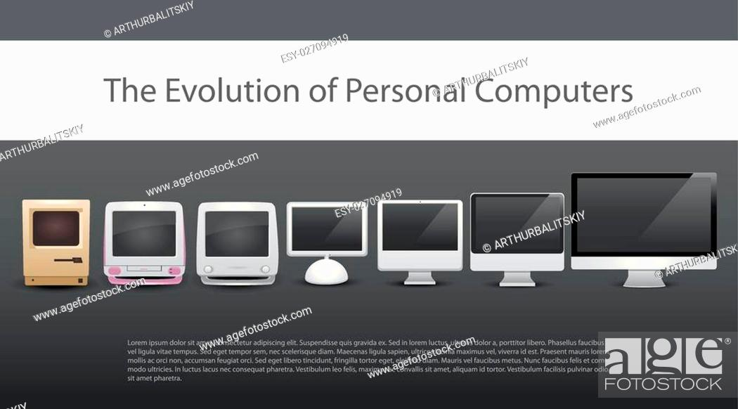 Stock Vector: evolution of computers 7 different types of computers from 20-th century to now monitors included computer new computer old computers modern computers.