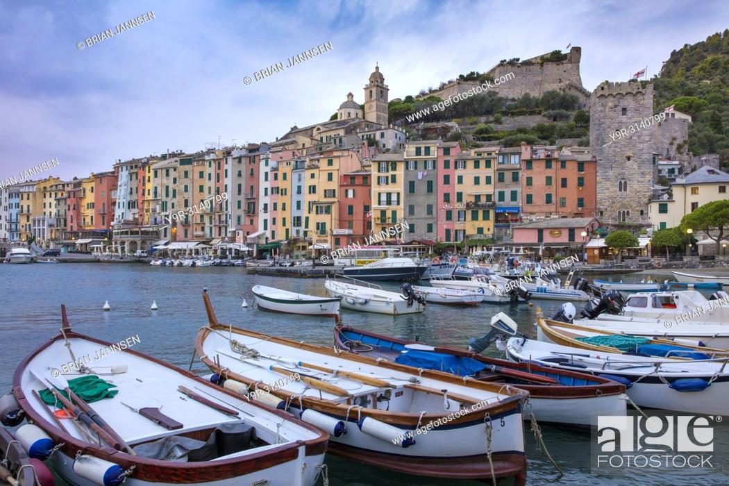 Stock Photo: Boats in the harbor in Portovenere, La Spezia, Liguria, Italy.