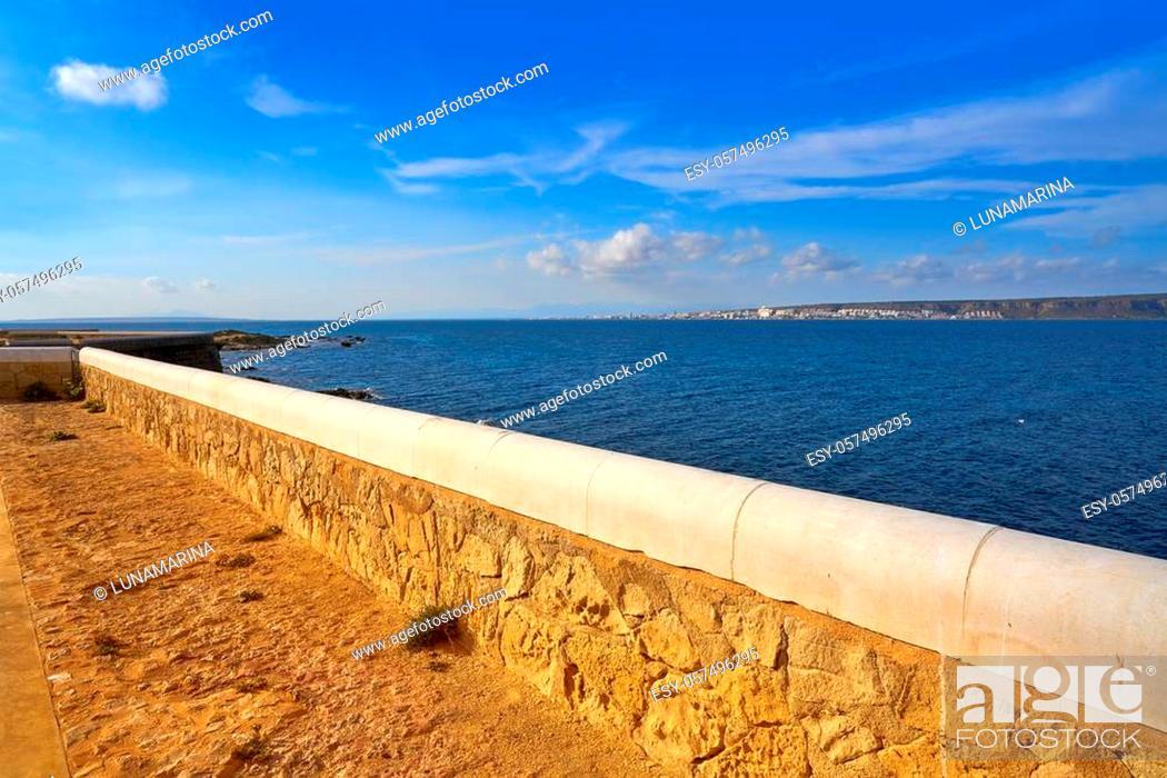 Stock Photo: Mediterranean sea in Nova Tabarca of Alicante Spain.