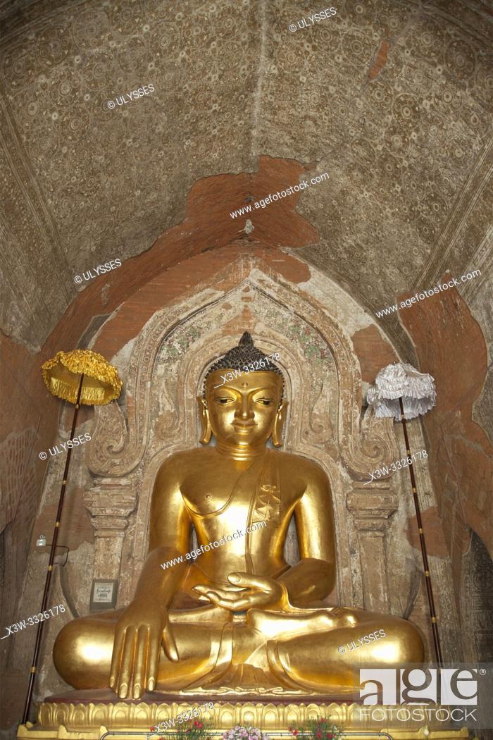 Stock Photo: Htilominlo temple, Old Bagan and Nyaung U village area, Mandalay region, Myanmar, Asia.
