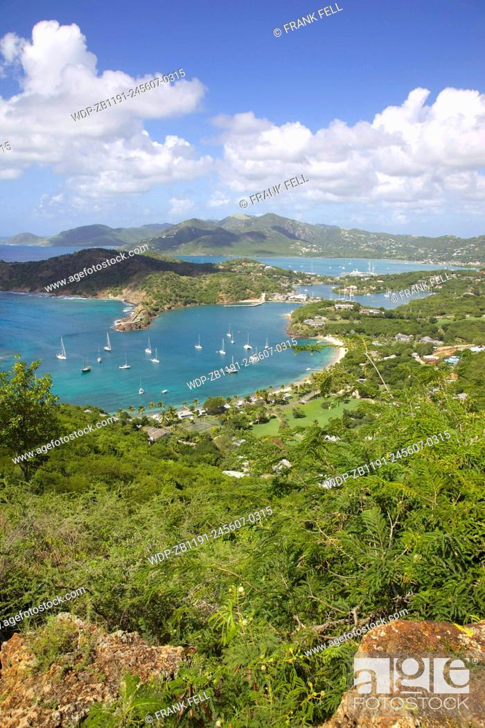 Stock Photo: West Indies, Caribbean, Antigua, View of English Harbour from Shirley Heights.