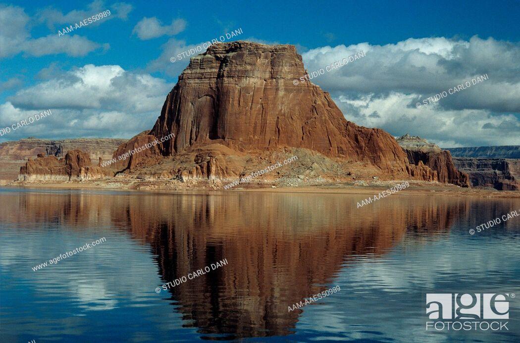 Stock Photo: Tower Butte on Lake Powell, Navajo Res., AZ-Utah. reflection.