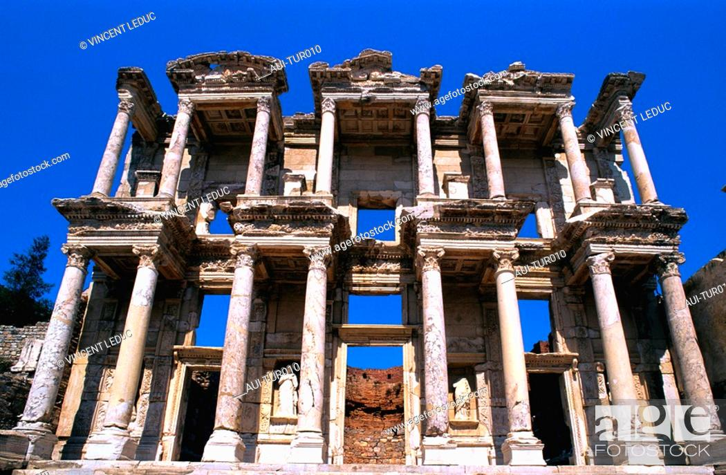 Stock Photo: Turkey - Mediterranean Coast - Izmir Region - Selcuk - Epheze - Celsus' Library.