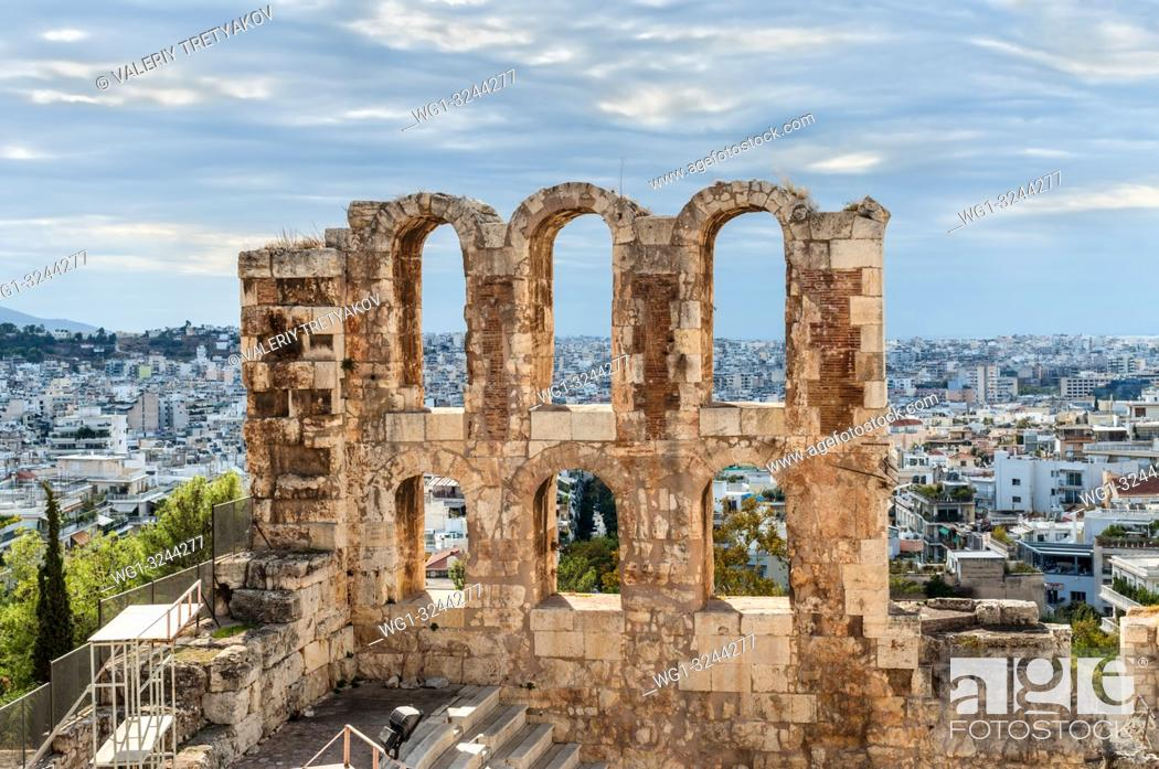 Stock Photo: The Odeon of Herodes Atticus Theater Wall Details. It is a stone theatre structure located on the southwest slope of the Acropolis of Athens, Greece.