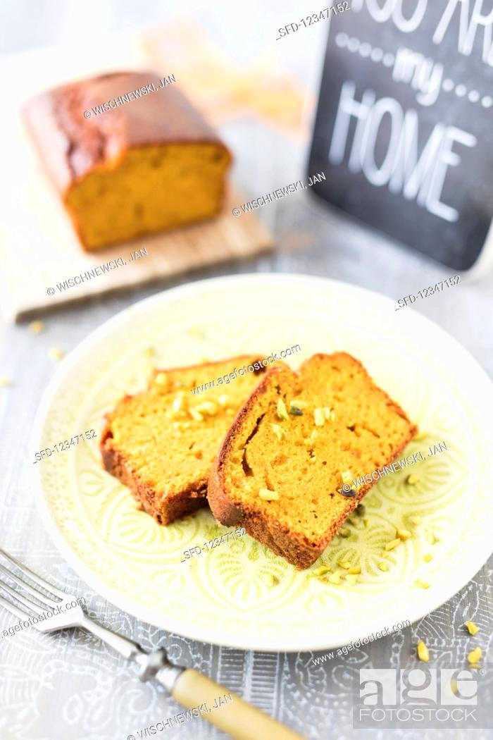 Stock Photo: Pumpkin cake with pistachios.