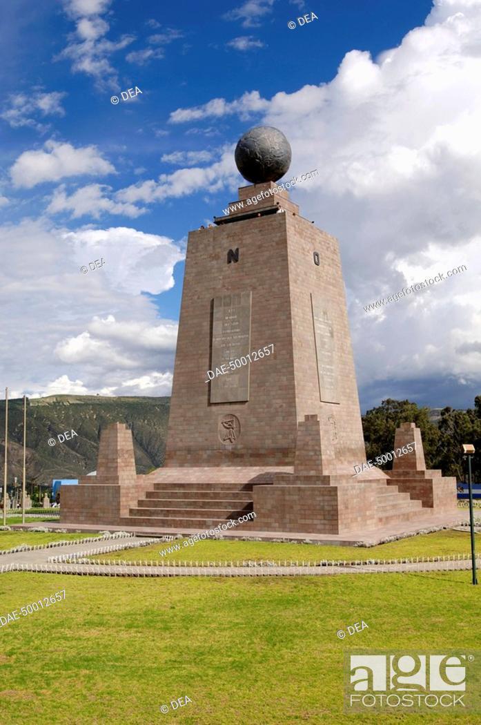 Stock Photo: Ecuador - Pichincha Province - Quito. UNESCO World Heritage List, 1978. 'Mitad del Mundo'; the monolith that marks the Equator.