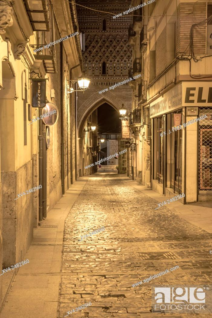 Stock Photo: Old town street of Teruel by night, Aragon, Spain.