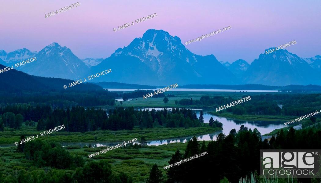 Stock Photo: Dawn at Oxbow bend, Snake River, Grand Teton National Park, Wyoming, 7/18/2008.