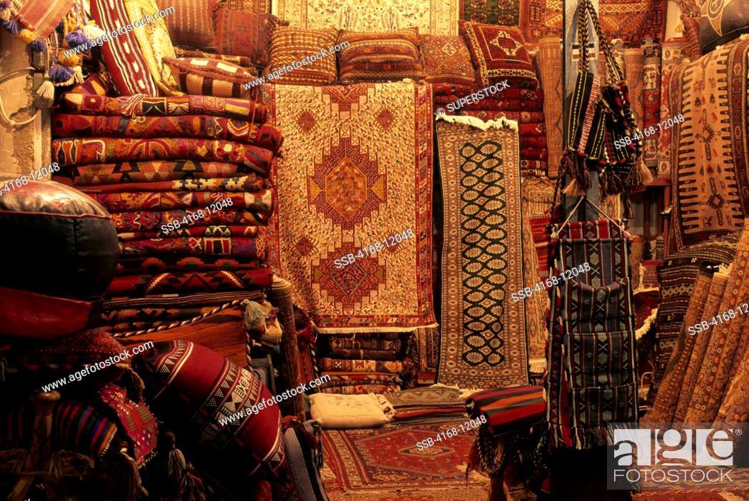 Saudi Arabia, Riyadh, Souk Bazaar In Evening, Carpet Store, Stock