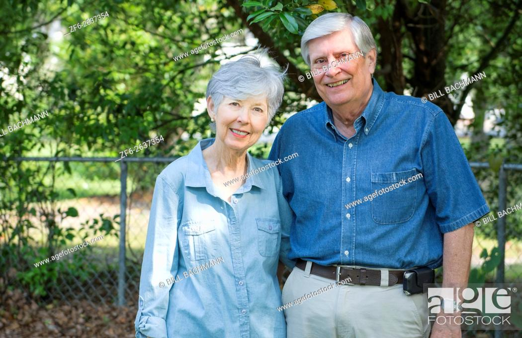Stock Photo: Mature retired couple married 49 years portrait in the park together in love MR Model released MR-1 MR- 2.