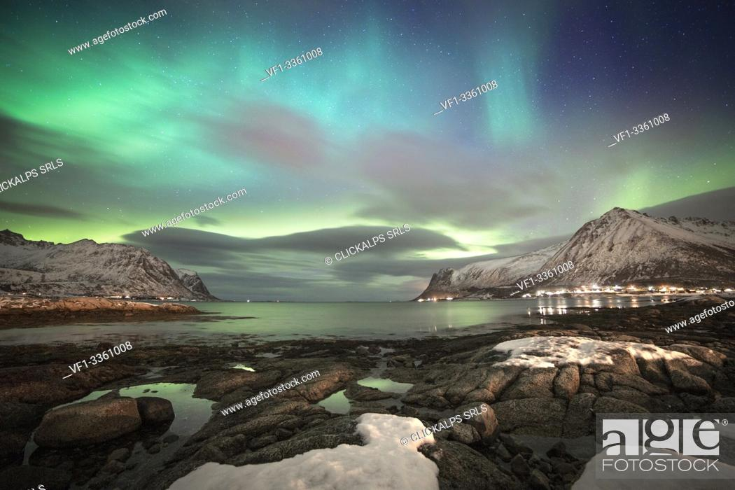 Stock Photo: Norvegian's fjord by night, Lofoten Islands, Svolvear district, Nordland, Norway.