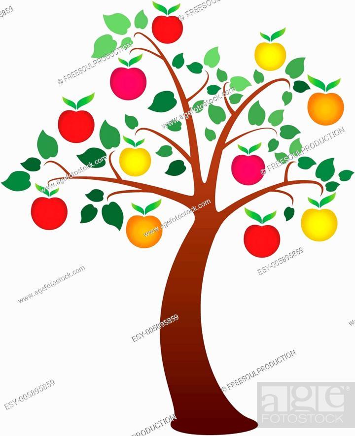 Stock Vector: vector apple tree.