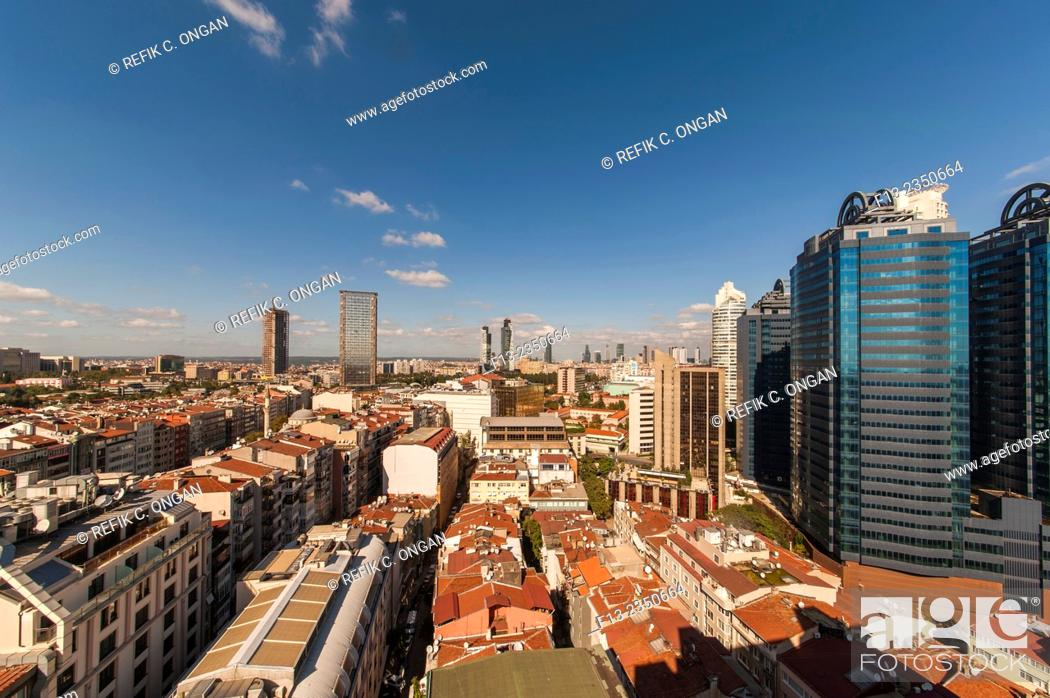 Stock Photo: wide angle office centre area in Istanbul.