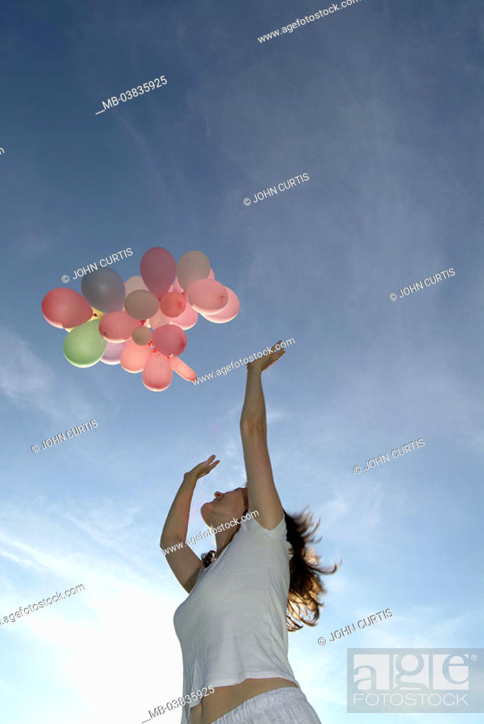 Woman Young Poor Heaven High Stretches Balloons Flie From