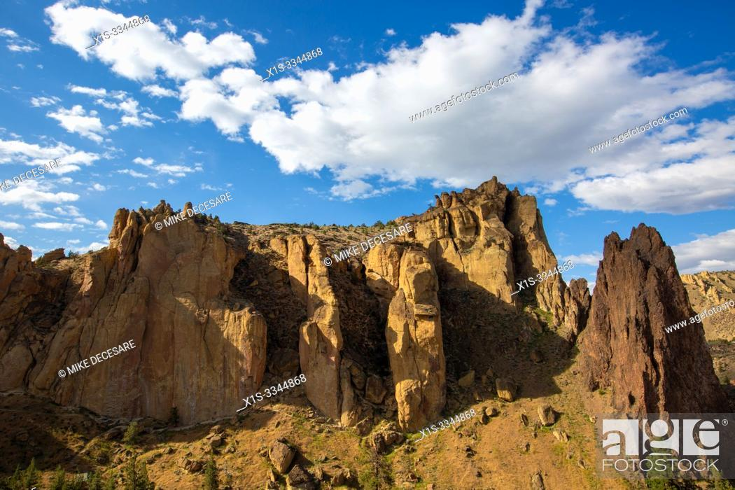 Stock Photo: Smith Rock is considered one of the seven wonders of Oregon and is credited as a prime location where American rock climbing took hold.