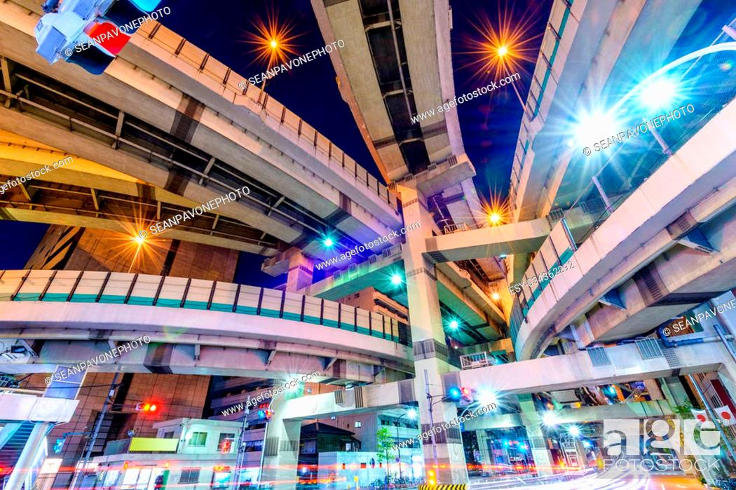 Stock Photo: Tokyo, Japan cityscape and expressway junction.