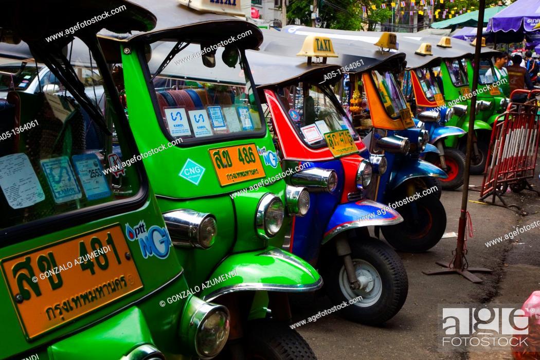 Stock Photo: Traffic in Bangkok, Tuk Tuk o Rickshaw, Thailand, Southeast Asia.