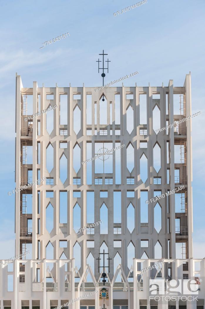 Stock Photo: Concattedrale Gran Madre di Dio, Taranto, Italy - Arch. Gio Ponti: The west front of Gio Ponti's Concattedrale Gran Madre di Dio, in the port city of Taranto.