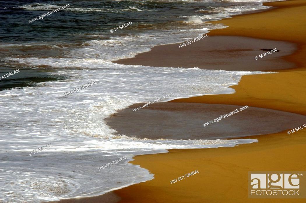 Stock Photo: PULINGUDI BEACH NEAR KOVALAM IN TRIVANDRUM DIST, KERALA.