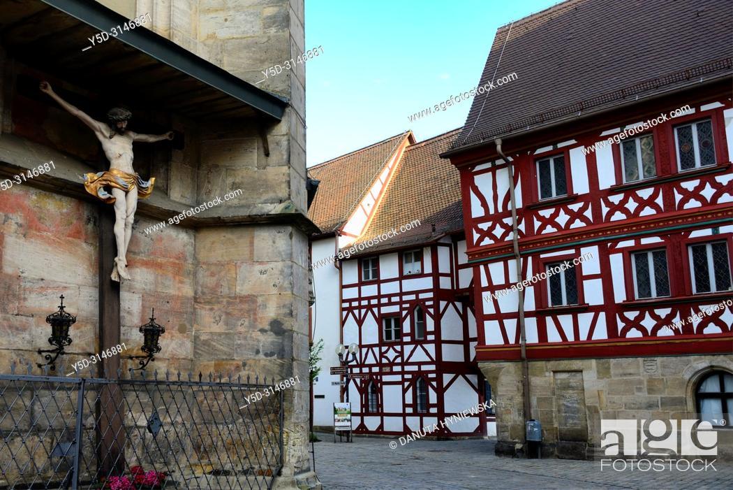 Stock Photo: St. Martin church, St.-Martin-Strasse around the church, historic part of Forchheim, Forchheim, Franconian Switzerland, Upper Franconia, Franconia, Bavaria.