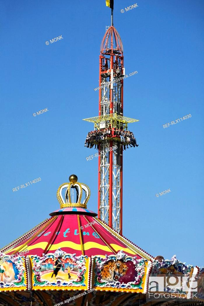 Stock Photo: Detail of fairground rides at Oktoberfest, Munich, Germany.