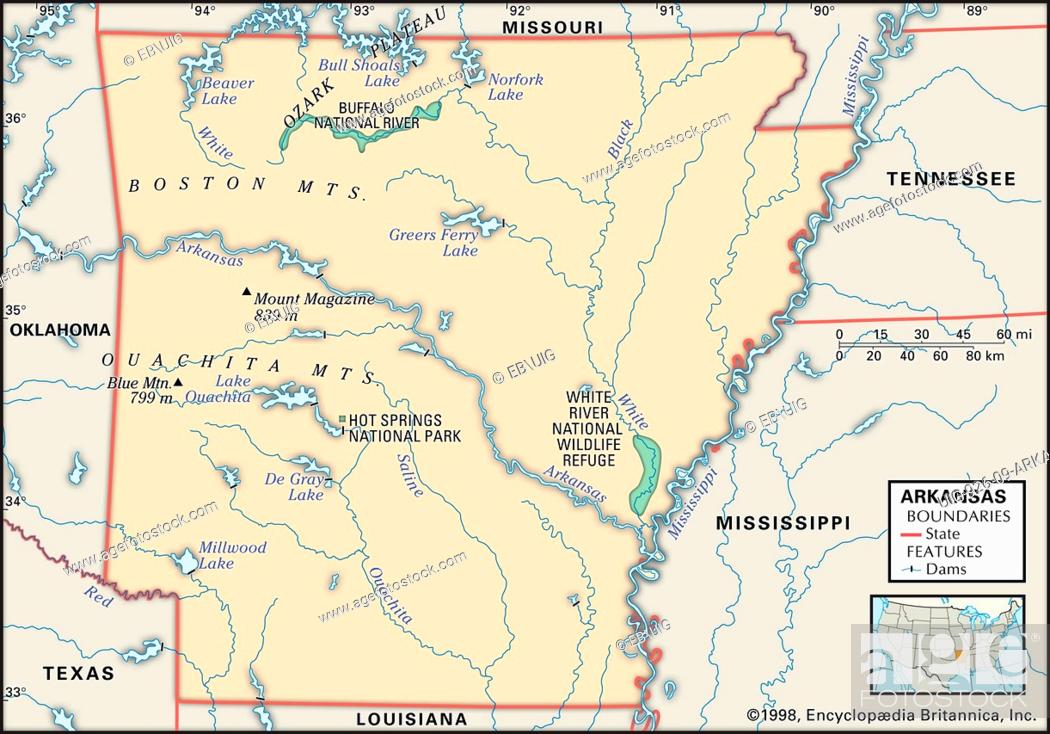State Parks In Arkansas Map.Physical Map Of The State Of Arkansas Showing Major National Parks