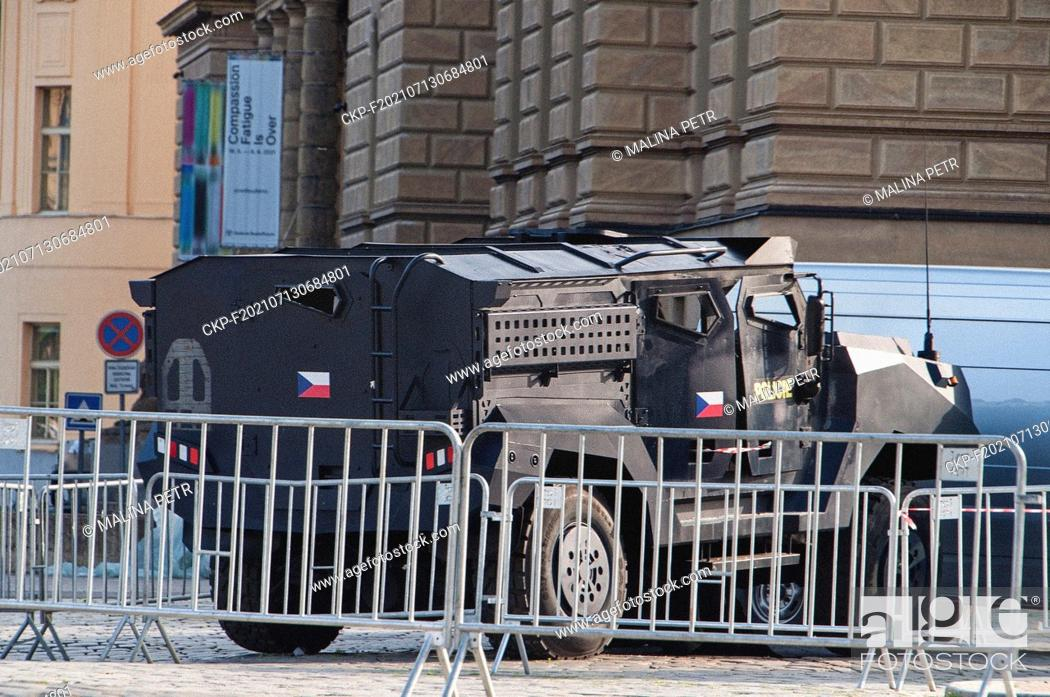 Stock Photo: Filming of action thriller The Gray Man of Netflix's most expensive production in Prague, Czech Republic, July 11, 2021. The filmmakers built a new stage with.