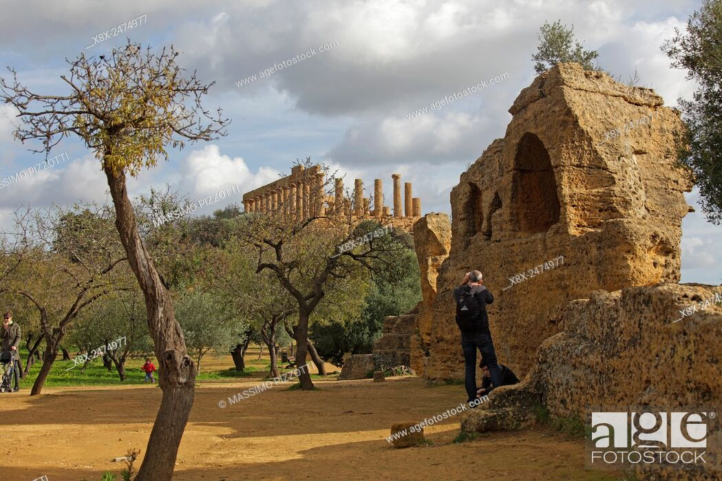 Stock Photo: Temple of Juno at Valley of the Temples, Agrigento, Sicily, Italy.