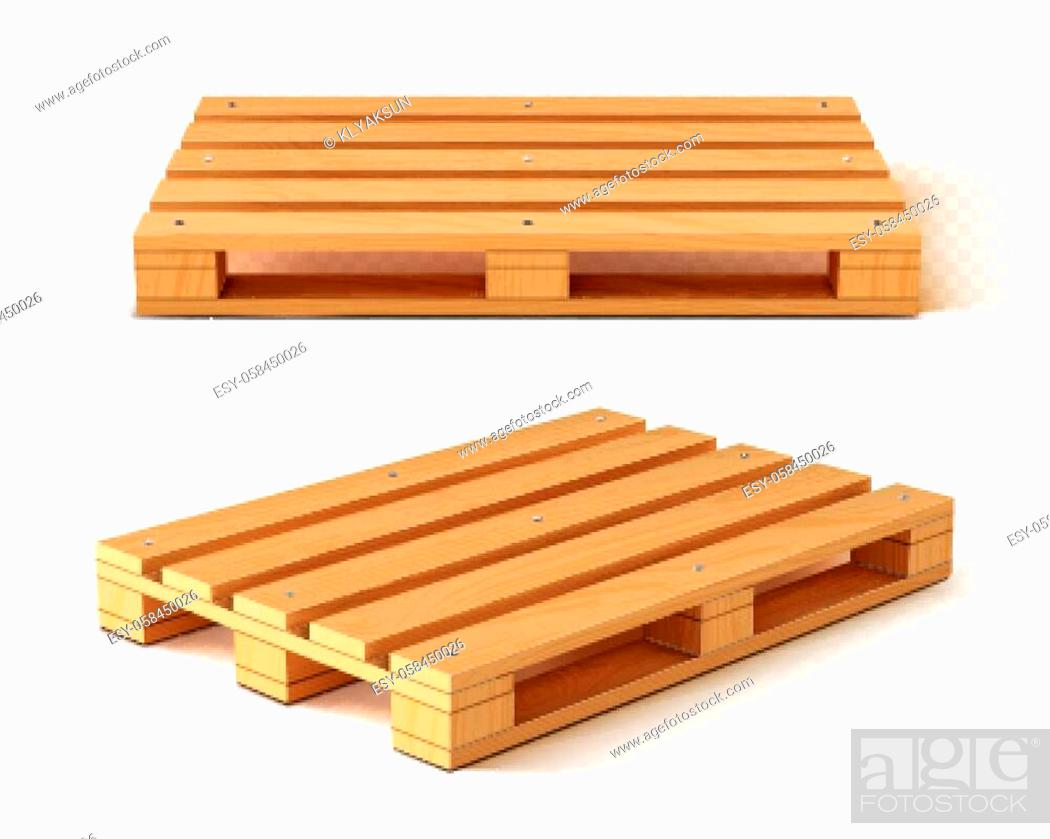 Stock Vector: Wooden pallet front and angle view. Wood trays for cargo loading and transportation. Freight delivery, warehousing service equipment isolated on transparent.