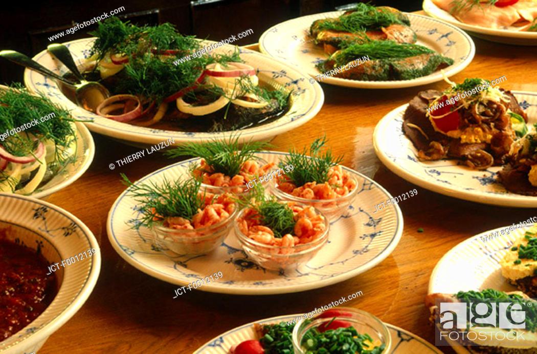 Stock Photo: Denmark, Copenhagen, smorrebrod plates.