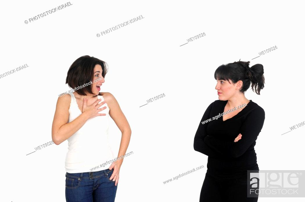 Stock Photo: Excited girlfriends On white Background.