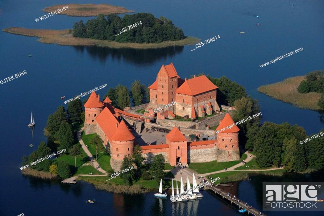 Stock Photo: Gothic castle (XIV-XVth century) on Lake Galve. Trakai. Lithuania.