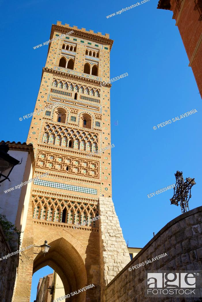 Stock Photo: Mudejar tower of San Martin in Teruel city, Aragon in Spain.
