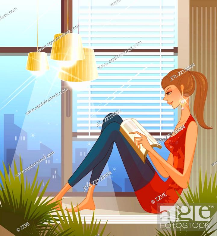 Stock Photo: Woman sitting on window sill, reading book.