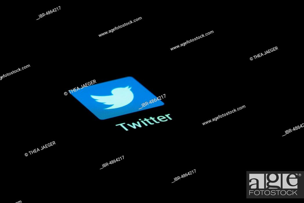 Stock Photo: Twitter app icon on a display, social network, social media, mobile phone, smartphone, tablet, Germany.